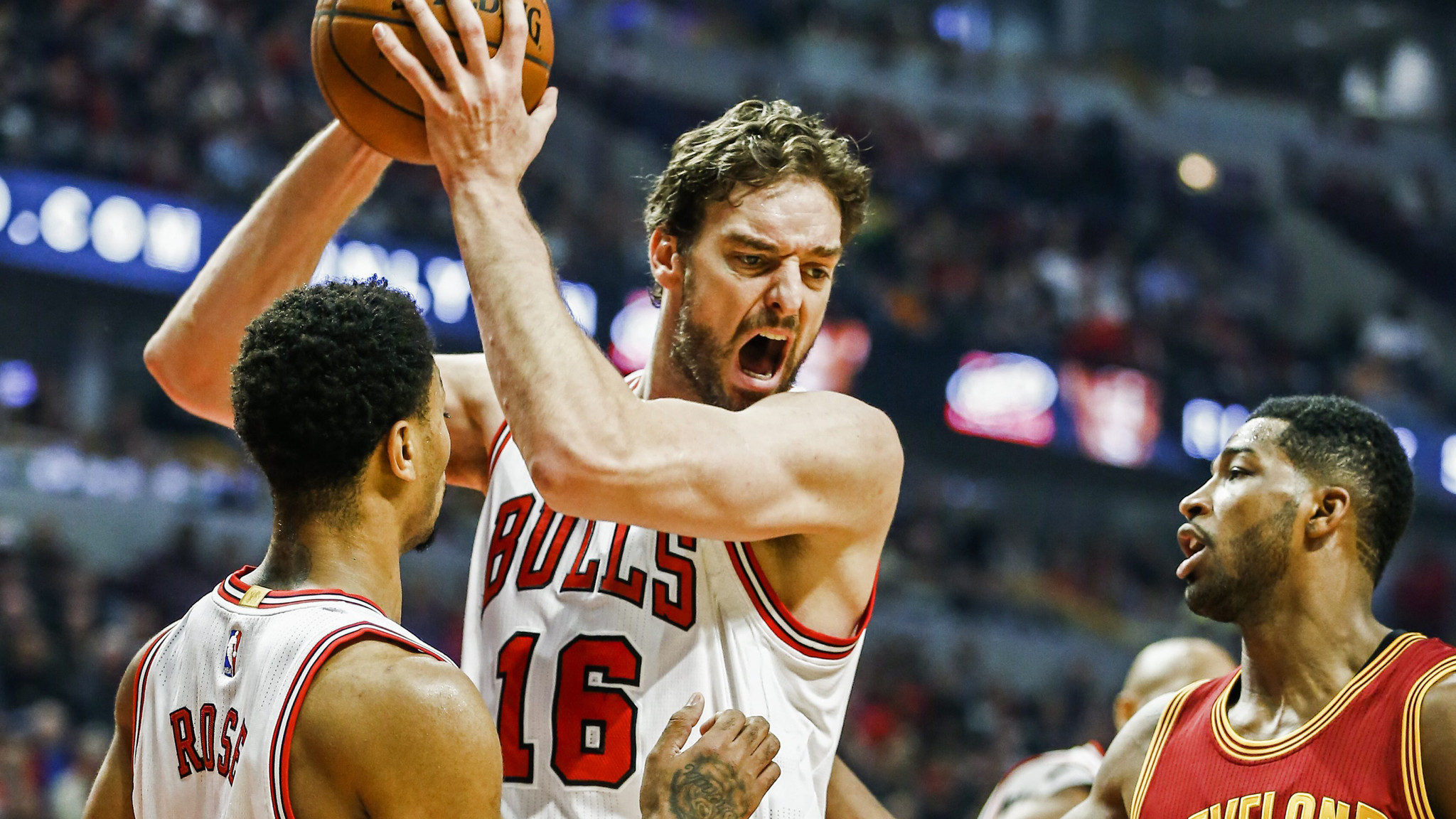 73ff89b56d2 Gasol grabs a rebound over Cleveland Cavaliers forward Tristan Thompson and Derrick  Rose in the first