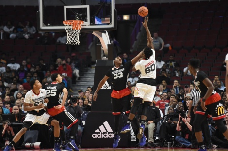 Credit: MCDAAG/Golin A meeting of the big men: McDonald's All-Americans Diamond Stone and Caleb Swanigan go at it during Wednesday's contest.