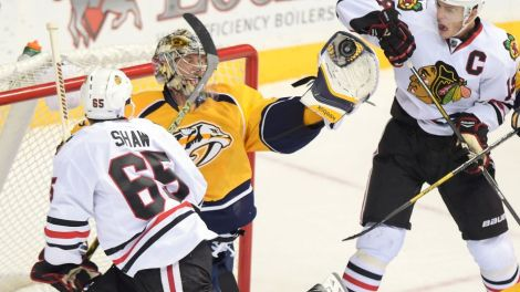 Don McPeak/USA TODAY Sports Nashville goalie Pekka Rinne will have to make his fair share of saves to keep Nashville in control against the Hawks.