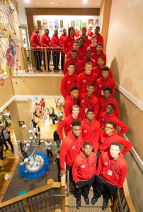 Credit: MCDAAG/Golin The combined McDonald's All-American boys roster at the Ronald McDonald House in Chicago this past Sunday.
