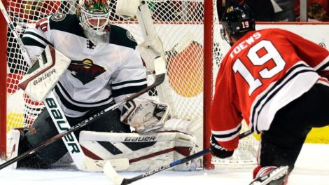 Nam Y. Huh/Associated Press Minnesota Wild goalie Devan Dubnyk fails to stop a shot and goal by Blackhawks center Jonathan Toews during the second period of Game 2 in Chicago on Sunday.