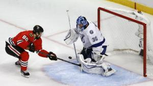 Charles Rex Arbogast/AP Tampa Bay Lightning goalie Ben Bishop has been beat up all series but he's stood strong and so has his team in taking the series lead.