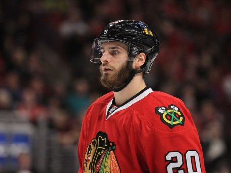Nov 9, 2014; Chicago, IL, USA; Chicago Blackhawks left wing Brandon Saad (20) during the third period against the San Jose Sharks at the United Center. Chicago won 5-2. Mandatory Credit: Dennis Wierzbicki-USA TODAY Sports