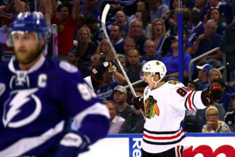 Bruce Bennett/Getty Images Teuvo Teravainen celebrates his third period goal against the Tampa Bay Lightning during Game One of the 2015 NHL Stanley Cup Final at Amalie Arena