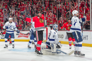 Getty Images Brandon Saad celebrates his third period game-winner in Wednesday night's Game 4.