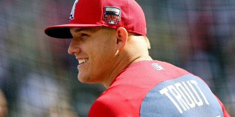 MINNEAPOLIS, MN - JULY 15: American League All-Star Mike Trout #27 of the Los Angeles Angels looks on during batting practice before the 85th MLB All-Star Game at Target Field on July 15, 2014 in Minneapolis, Minnesota.  (Photo by Elsa/Getty Images)