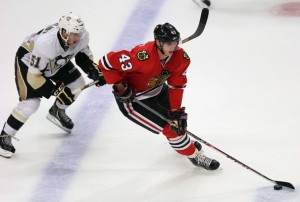 Jonathan Daniel/Getty Images Viktor Svedberg (#43) in action during a 2013 exhibition game.