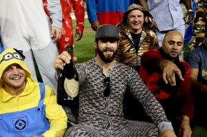 Stephen Dunn/Getty Images Jake Arrieta (the one in the mustache onesie) with his fellow pajama-wearing Cubbie teammates post-no-hitter.