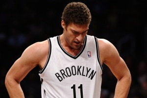 Maddie Meyer/Getty Images Lopez will be doing a lot of this once he realizes who is in Brooklyn's guard rotation.