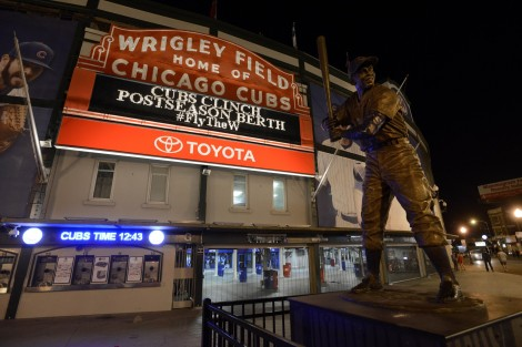 Wrigley Field after the Chicago Cubs clinched a wildcard playoff spot Saturday, Sept. 26, 2015 in Chicago. (AP Photo/Paul Beaty)
