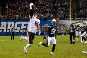 Associated Press Zach Miller came through in the clutch with a one-handed go-ahead touchdown catch, the Bears' play of the season thus far.