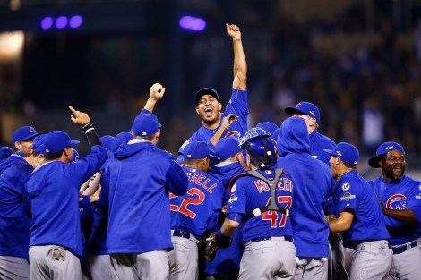 PITTSBURGH, PA - OCTOBER 07:  The Chicago Cubs celebrate defeating the Pittsburgh Pirates to win the National League Wild Card game at PNC Park on October 7, 2015 in Pittsburgh, Pennsylvania. The Chicago Cubs defeated the Pittsburgh Pirates with a score of 4 to 0.  (Photo by Jared Wickerham/Getty Images)