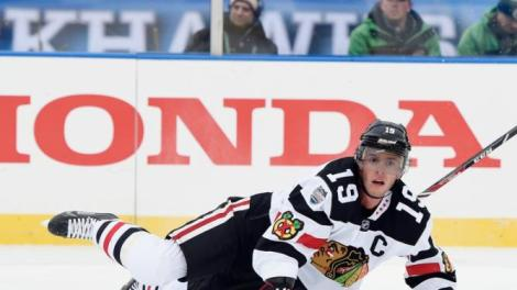 Hannah Foslien/Getty Images Jonathan Toews hits the ice during the second period against the Minnesota Wild at the TCF Bank Stadium during the 2016 Coors Light Stadium Series game Sunday in Minneapolis.