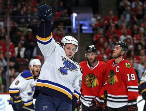 CHICAGO, IL - APRIL 19:  Vladimir Tarasenko #91 of the St. Louis Blues celebrates a first period goal against the Chicago Blackhawks in Game Four of the Western Conference First Round during the 2016 NHL Stanley Cup Playoffs at the United Center on April 19, 2016 in Chicago, Illinois.  (Photo by Jonathan Daniel/Getty Images)