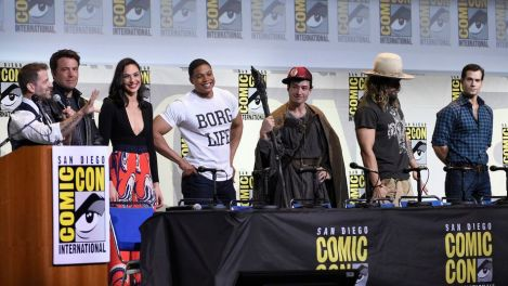 "Chris Pizzello/Invision/AP Director Zack Snyder, from left, and actors Ben Affleck, Gal Gadot, Ray Fisher, Ezra Miller, Jason Momoa, and Henry Cavill attend the ""Justice League"" panel on day 3 of Comic-Con International on Saturday in San Diego."