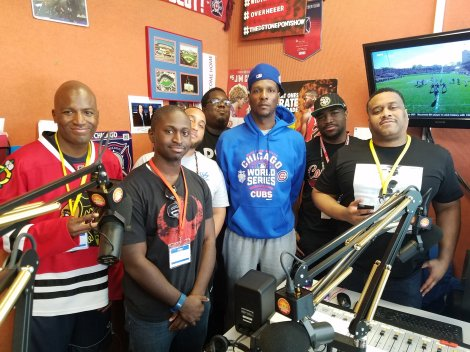 Credit: The D & Davis Show The Bigs (Terrence Tomlin, in light blue, Eugene McIntosh, in Cubs hoodie) after a late 2016 visit to The D & Davis Show.