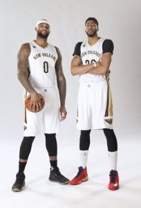 Courtesy: New Orleans Pelicans Cousins in his new No. 0 alongside his new wrecking partner, Davis.